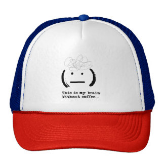 Funny Lol My Brain Without Coffee Emoji Typography Cap