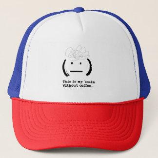 Funny Lol My Brain Without Coffee Emoji Typography Trucker Hat
