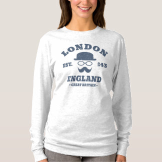 Funny London England Hipster Bowler Hat T-Shirt