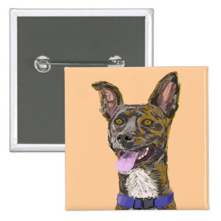 Funny Looking Colorful Sketched Dog with Big Ears 15 Cm Square Badge