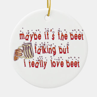 Funny Love Beer Christmas Ornament