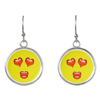 Funny Love Kiss Emoji Smiley Earrings