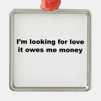 Funny Love Slogan Silver-Colored Square Decoration