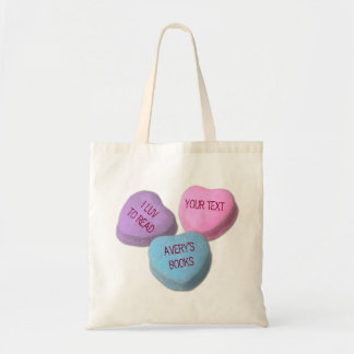 Funny Love To Read Books Candy Heart Custom Text Budget Tote Bag