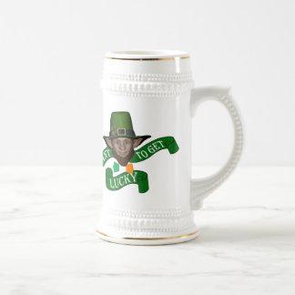 Funny lucky , Irish  leprechaun Beer Stein