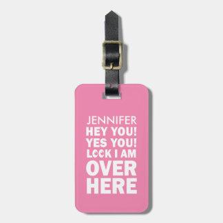 Funny Luggage Tag with Emoji Eyes in pink