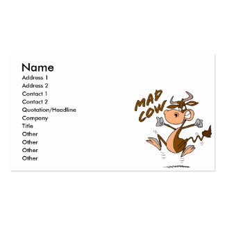 funny mad cow cartoon character pack of standard business cards
