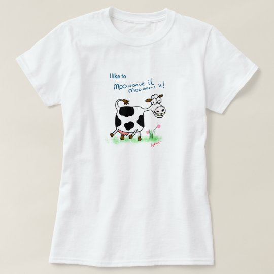 Funny mad cow cartoon t-shirt I like to moooove it