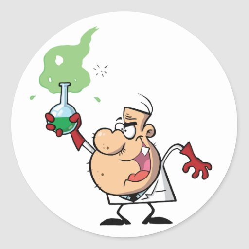 Funny Mad Scientist Holding Green Potion Round Sticker