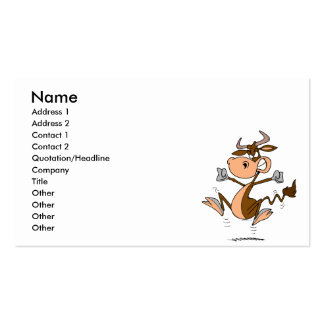 funny mad temper tantrum cow cartoon Double-Sided standard business cards (Pack of 100)