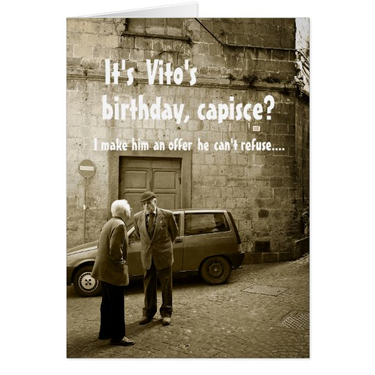 Funny mafia birthday customisable greeting card