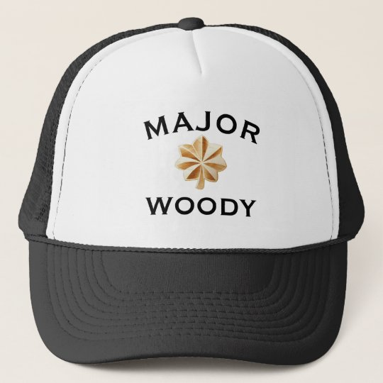"Funny ""Major Woody"" with Emblem Trucker Hat"