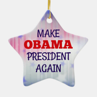 "Funny ""Make Obama President Again"" Christmas Ornament"
