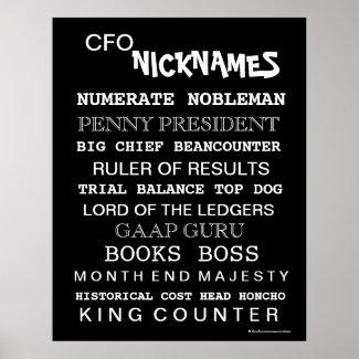 Funny Male CFO Cruel Nicknames Office Poster