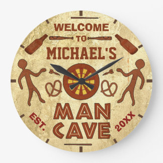 Funny Man Cave with Beer Sports TV | Custom Name Wallclock