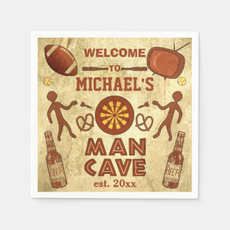 Funny Man Cave with Your Name Custom Disposable Napkins