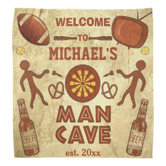 Funny Man Cave with Your Name Custom Kerchief
