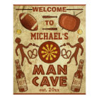 Funny Man Cave with Your Name Custom Poster