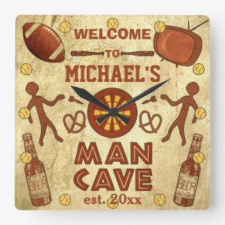 Funny Man Cave with Your Name Custom Wall Clock