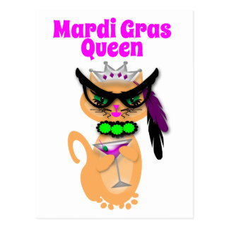 Funny Mardi Gras Kitty Cat Queen Postcards