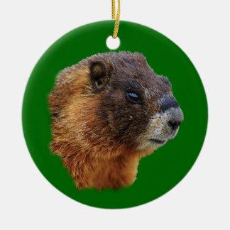 funny marmot christmas tree ornament