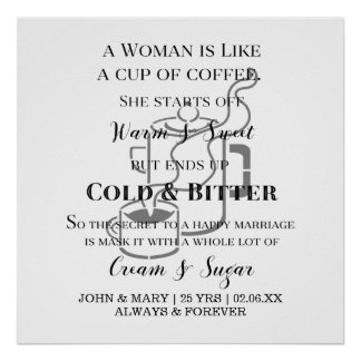 Funny Marriage Like Coffee Anniversary With Names Poster
