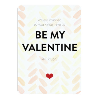 Funny Married Valentine on Pink watercolor pattern 13 Cm X 18 Cm Invitation Card