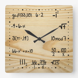 Funny Math Geek Square Wall Clock