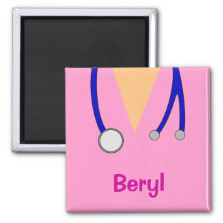 Funny Medical Scrubs Whimsical Personalised Fridge Square Magnet