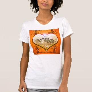 Funny meerkat in a heart with floral elements t shirts