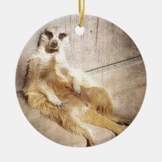 Funny Meerkat Sitting Grunge Effect Photo Christmas Ornament