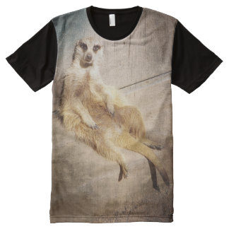 Funny Meerkat Sitting with Back to Wall, Grunge All-Over Print T-Shirt