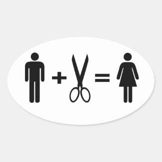 Funny men scissors woman oval sticker