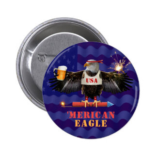 Funny Merican Eagle 4th of July Beer and Fireworks 6 Cm Round Badge