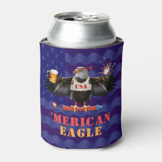 Funny Merican Eagle 4th of July Beer and Fireworks Can Cooler