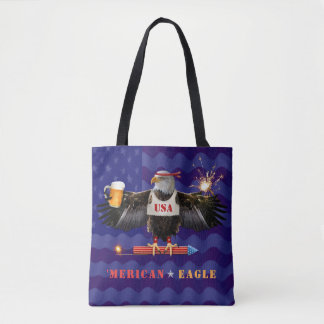 Funny Merican Eagle 4th of July Beer and Fireworks Tote Bag