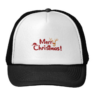 Funny Merry Christmas Art with Reindeer Mesh Hat