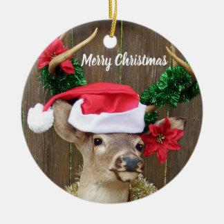 Funny Merry Christmas Buck Whitetail Deer Christmas Ornament