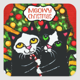 Funny Merry Christmas Cat Lover's Sticker