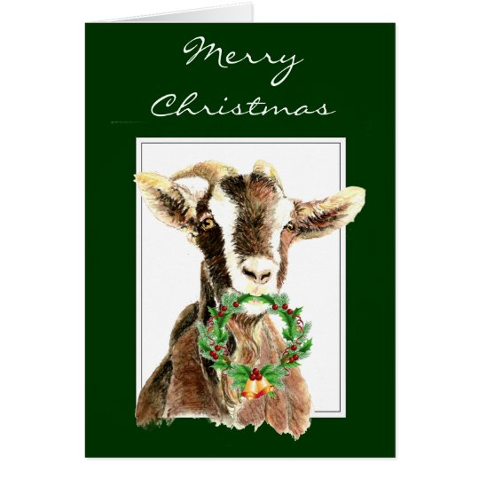 Funny Merry Christmas from Old Goat Animal, Card