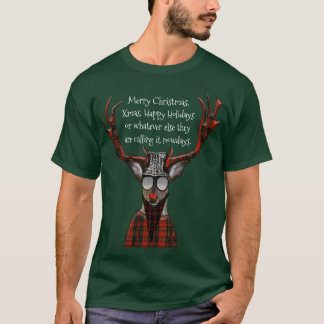 Funny Merry Christmas Hipster Deer T-Shirt