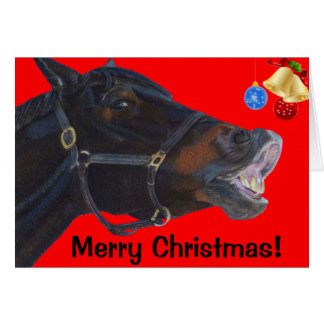 Funny Merry Christmas Horse Card