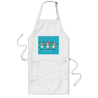 Funny Merry Christmas Reindeers Long Apron