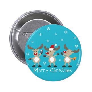 Funny Merry Christmas Reindeers 6 Cm Round Badge