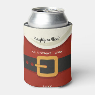 Funny Merry Christmas Santa Claus Naughty or Nice Can Cooler