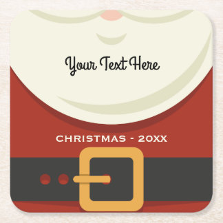 Funny Merry Christmas Santa Claus Suit Custom Square Paper Coaster