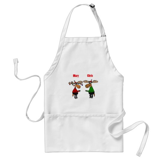 Funny Merry Christmoose Cartoon Standard Apron