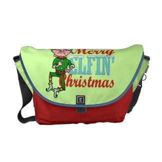Funny Merry Elfin Christmas Bah Humbug Messenger Bag