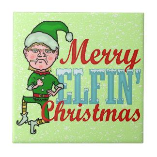 Funny Merry Elfin Christmas Bah Humbug Tiles