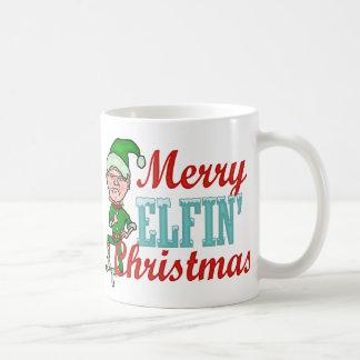 Funny Merry Elfin Christmas Pun Basic White Mug